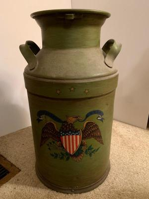 Painted Antique mik can