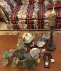 BOX LOT WITH CANLDE HOLDER, GLASS DECOR, TRADE SHOW ITEMS (WATCHES)