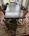 Knotty pine table and 6 chairs, good quality, heavy chairs