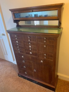 "Antique solid wood dental cabinet - 21 drawer, 1 door - marbleized base; glass knobs, etched glass top; 11"" depth/33"" width/58"" tall- see video!"