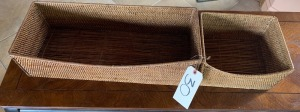 Two Wicker Storage Baskets - Good condition; Larger basket 9 x 23 inches;  smaller basket 10 x 8.5 inches