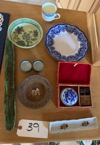 Assorted Glassware with Flow Blue Plate, Libate (Prussia)