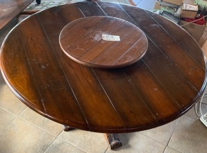 Solid Wood Carved Table with Lazy Susan (57in. diameter)