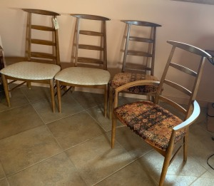 Four Mid- Century Modern Chairs, 1 Captains Chair - structurally sound, some stains on upholstery