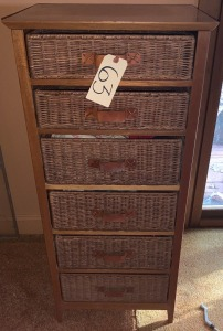 Six Drawer Wood and Wicker Chest - 16 inches deep, 20 inches wide 44 ½ inches tall
