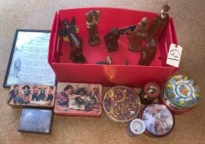 Carved Nativity Set, Chistmmas Decor, and Metal Tins - tallest figure about 10""
