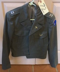 "Vintage Army jacket 36L w/ pins and patch -  Good condition Eisenhower, ""Ike "" type, with dog tags"
