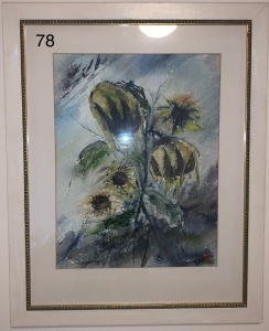 Druid Freda flowers painting, water color on board - original by Ruth Baker, daisies, flower in a basket,