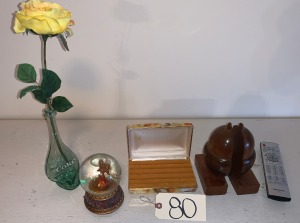 Modern art Coke bottle vase - Cheyenne, WY, TV remote, acorn book ends made in Gatlinburg, TN, working musical globe, ring box