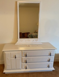 3 drawer, 1 door painted oak dresser w/ mirror Stanley, mid-Century - 18 inch deep, 54 inch wide, 28 inch tall