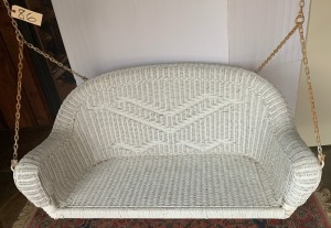 Woven wicker porch swing - 53""