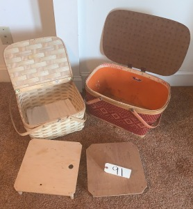 Split oak picnic basket made by West Rindge Baskets, vintage woven picnic basket made by Redman
