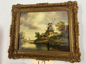 "Oil on canvas painting, 9""x11-1/4"" viewing area - N. Lue, Ruisdael"