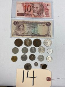 "10 REAIS Brazil note, 1/2 dollar bill Bahamas 1965, 1933B Swiss 5 Francs, 1940 Lg English one penny coin, Chinese HuPoo coin, 1932 1 Franc ""Helvetie"" Swiss coin, ""New Pence Elizabeth II 1978 coin, Austrian 10 schilling 1974 coin, Canadian coins - 3 quarte"