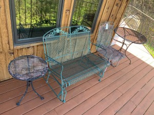 Metal glider, Metal Chair and Table for patio or outdoors