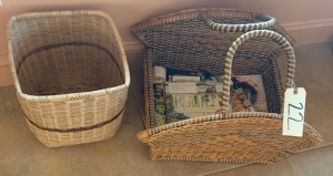 Magazine basket - good quality; small wicker  basket - has some damage