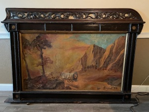 MID 1800'S SALOON ART, PAINTING ON BOARD --ROUGHLY 5FTX7FT