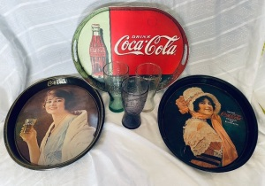 Coca-Cola Trays & McDonalds Glasses