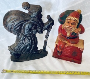Cast Iron Santa Doorstops