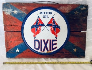 "Dixie Oil Tin Sign on Board 13""x20"""