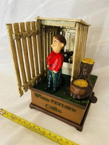 """When Nature Calls"" Cast Iron Coin Bank"