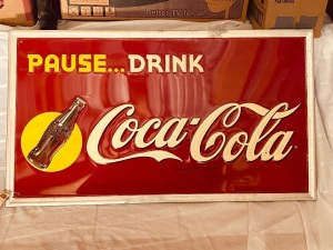 "31""x18"" Metal Coke Sign"