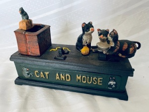 Cat & Mouse Cast Iron Coin Bank
