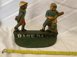 Cast Iron Baseball Doorstop