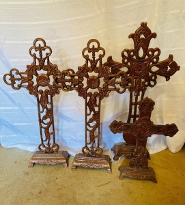 "4 Metal Crosses 21"" tall, One is 13"" Tall"