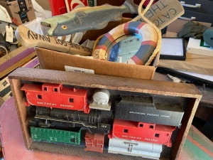 Box lot of train toys and mirror