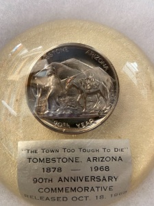 1968 Tombstone Arizona Coin/Medal in Display
