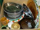 Silver-plated/stainless serving ware & assorted kitchen items