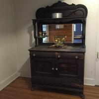 Antique Oak Side board with beveled mirror