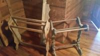 Two (2) wood quilt racks & shelf