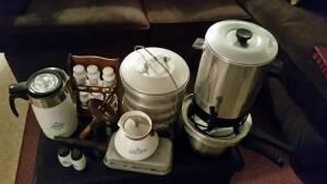 Box Lot 59: Old blue design Corning Ware coffee pots & s/p shakers,  32 cup aluminum coffee maker, antique spice rack, antique aluminum picnic pail with 5 compartments & handle, old fireplace bread pan, old hand mixer & pressure cooker