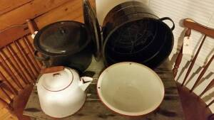 Box Lot 61:  Enamel canning pots, white (with red trim) enamel kettle & bowl