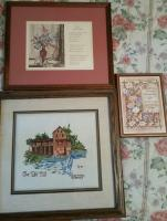 """Old Mill, Pigeon Forge"" cross stitch, wall art (3 pieces)"