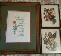 Cross stitching & fruit wall art (3 pieces)