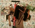 Box of Brushes, shoe lasts & assorted items