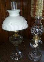 Oil lamps, (one converted to light)