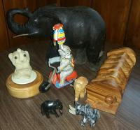 Elephant collection:  wind-up toy, music box, carved
